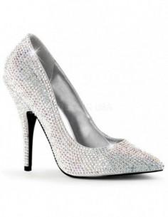 Zapato clásico tacon aguja recubierto de strass para pies grandes de talla 12 a 16