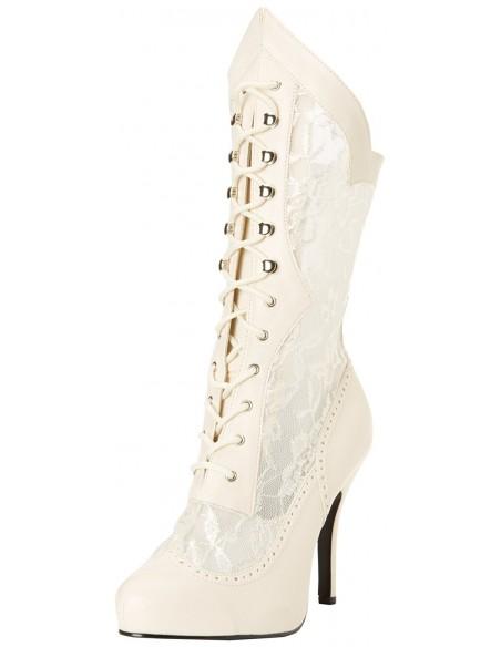 Botas de estilo victoriano de ancho especial acordonadas con encaje