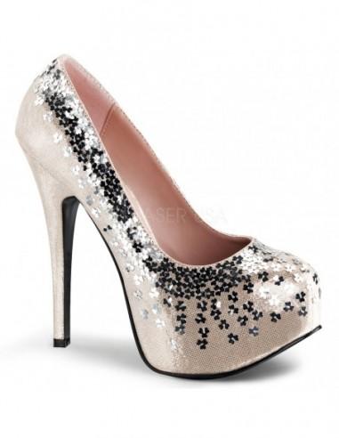Originales zapatos Bordello de Pleaser decorados con lentejuelas flor