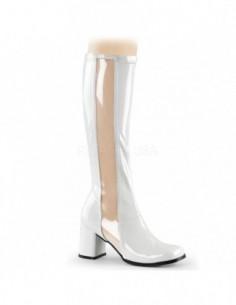Llamativas botas de charol con banda transparente desde talla 35 a 48