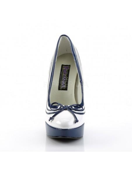 Preciosos zapatos de plataforma en charol brillante diseño marinero