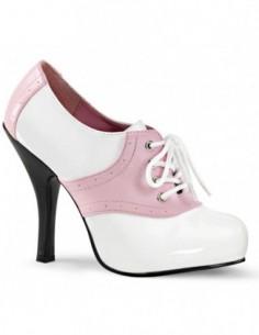 Zapatos de charol en dos tonos blanco-rosa y acordonados