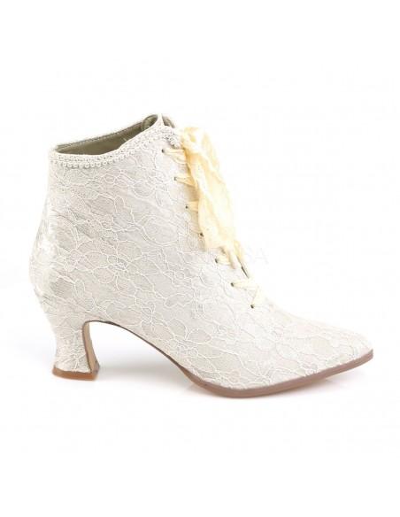 Zapatos abotinados de satén cubierto de encaje estilo Victoriano Steampunk