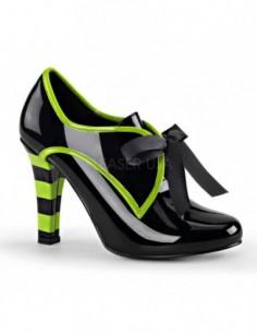 Zapatos fantasía en charol brillante con lazo al frente talla 36 a 44