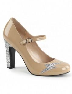 Zapatos tallas grandes 40 a 48 estilo Mary Jane de charol y purpurina
