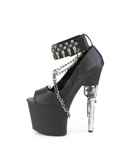 Zapatos BONDGIRL-783 plataforma con tacón de revolver y detalle cadena
