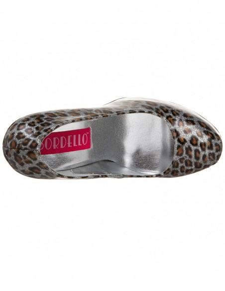 Pl-teeze-Zapatos Bordello estampado leopardo metálico-scp