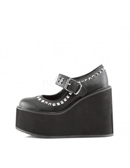 Zapatos plataforma cuña y correa decorados con tachuelas talla 36 a 44