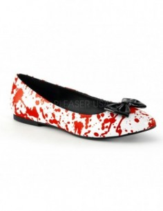 Zapatos bajos bailarinas para Halloween o Carnaval con gotas de sangre