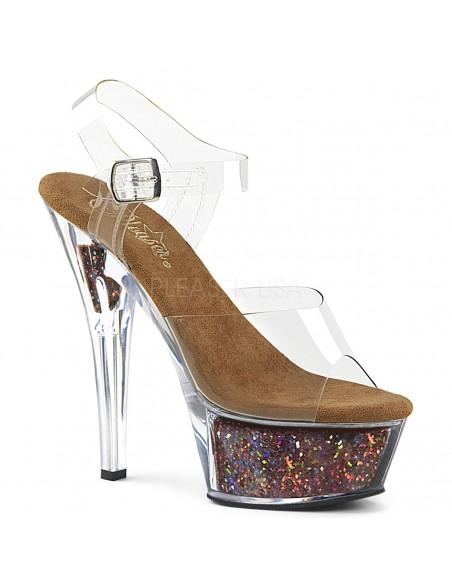 Sandalias PLEASER plataforma de 6 pulgadas con glitter en el interior
