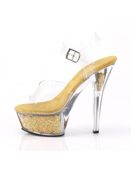 Sandalias exóticas PLEASER con plataforma 6 pulgadas y glitter brillante