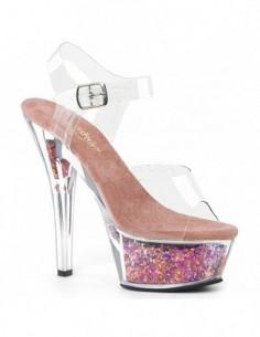 Sandalias stripper PLEASER plataforma de 6 pulgadas y glitter brillante