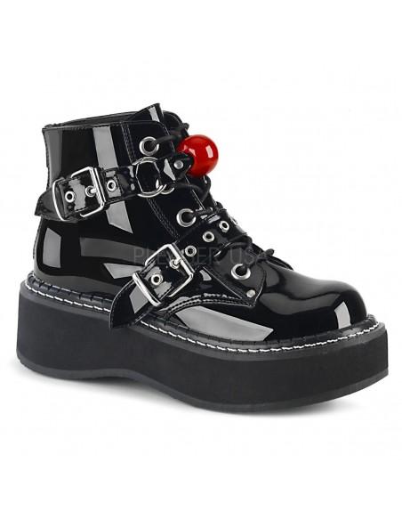 Zapatos abotinados Demonia EMILY-318 correas con doble hebilla
