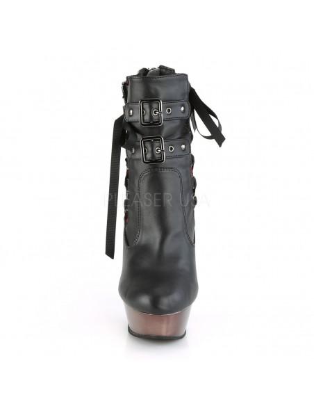 Botines MUERTO-1030 Demonia estilo corsé con 3 hebillas y tacón de huesos