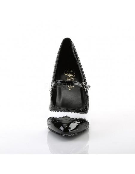 Zapato de linea retro con ribete y hebilla
