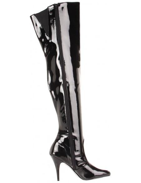 Bota al muslo lisa con cremallera lateral