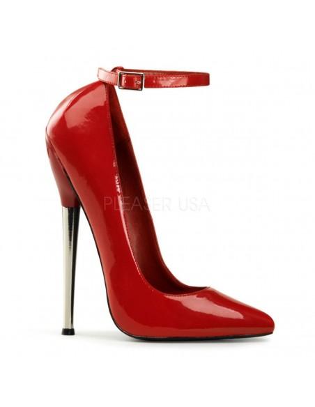 Zapato retro con tacón de aguja metálico y cierre de hebilla en tobillo