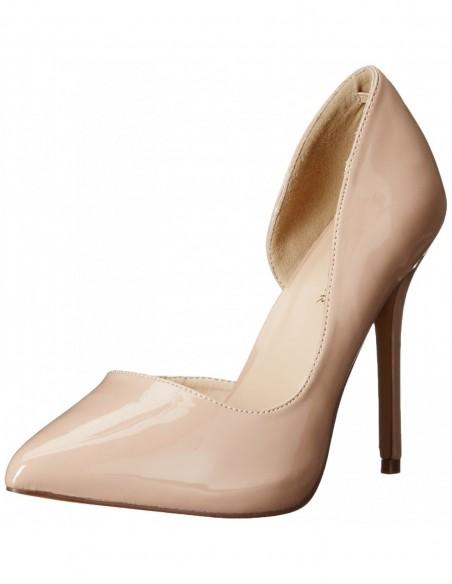 Zapatos clásicos en charol brillante con tacón de aguja y costado abierto