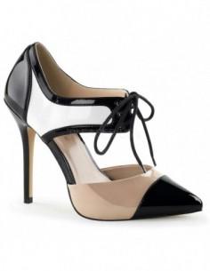 Preciosos zapatos de estilo D´Orsay en charol brillante combinados en 3 tonos