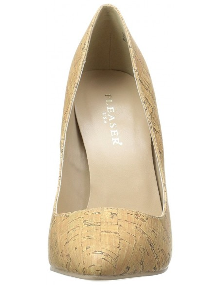 Zapatos estilo clásico y tacón alto simulando corcho en talla 35 a 46