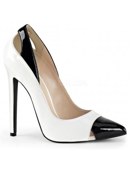 Zapatos de salón tacón alto en charol brillante bicolor talla 35 a 46