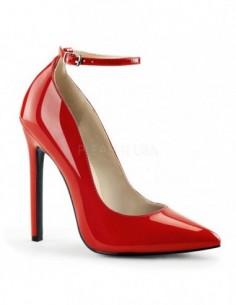 Zapatos de salón tacón alto y correa en charol brillante talla 35 a 46