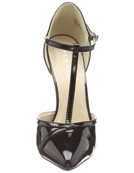 Sandalias sexys de charol brillante y tacón aguja desde talla 35 a 46