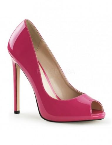 Preciosos zapatos de charol brillante diseño Peep-Toe en talla 35 a 46