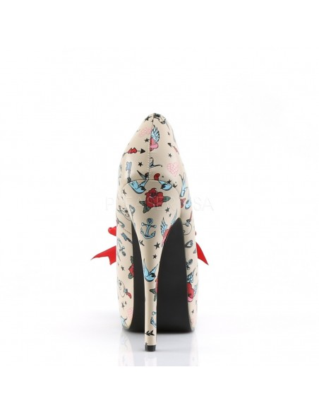 Zapato retro estampado con figuritas simil tatuaje y lazo en satén