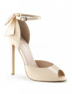 Sandalias de charol estilo Dorsay con lazo en talón y puntera abierta