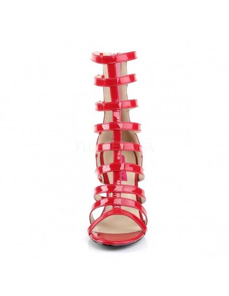 Llamativos botines abiertos de charol y multi correas tallas 40 a 50