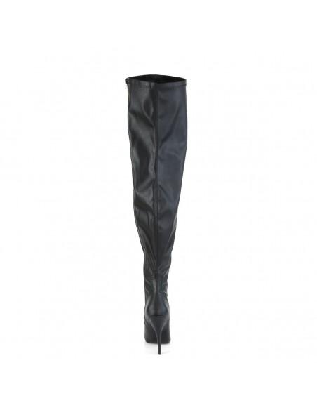 Botas al muslo de color negro SEDUCE-3000WC de polipiel con caña ancha