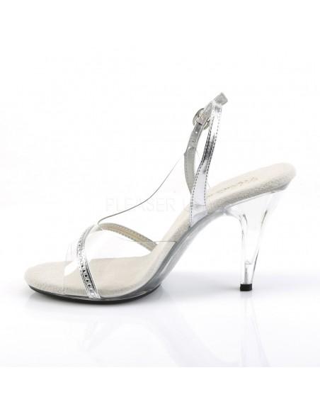 Sandalia transparente de tiras plateadas y strass