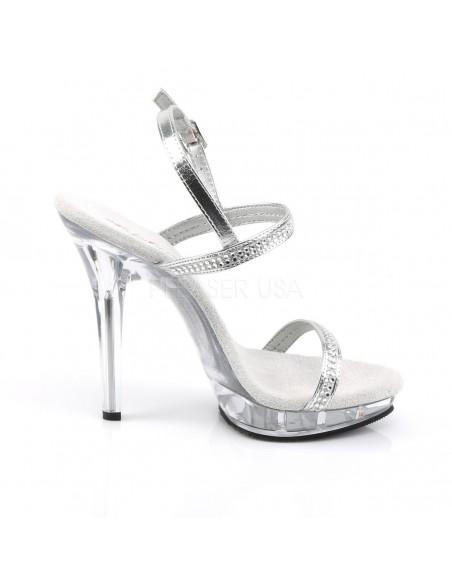 Sandalia transparente con tiras de strass