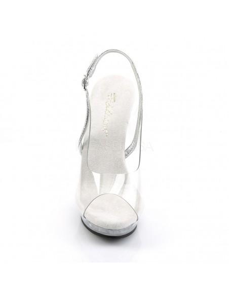 Sandalia transparente con hebilla en el talon