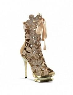 Lujosas botas cortas de plataforma con calados florales y pedrería