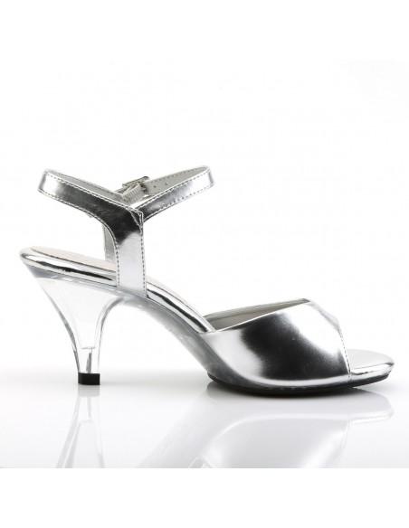 Sandalias plateadas con correa al tobillo