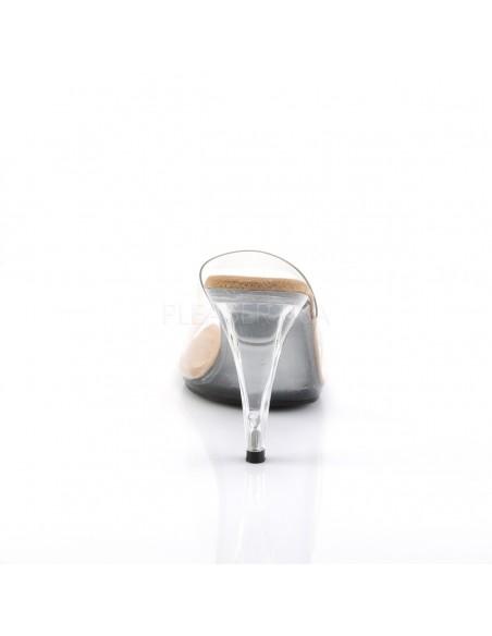 Zueco de empeine y tacón transparente con plantilla en crema