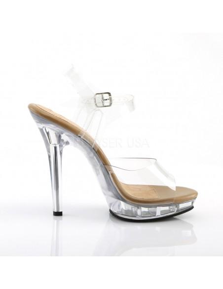 Sandalia de empeine transparente con plataforma y correa al tobillo