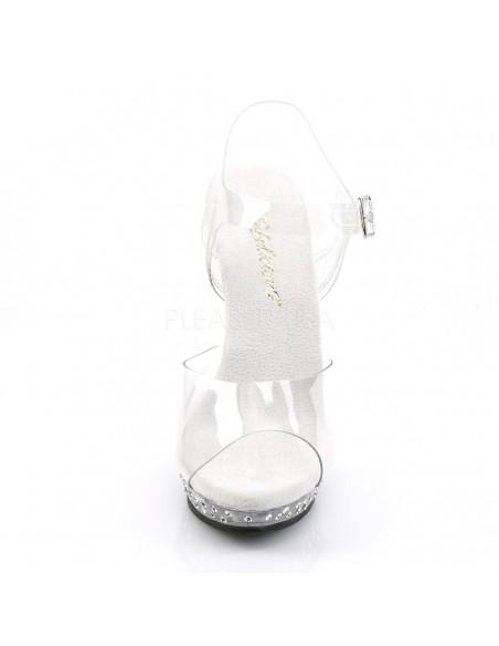 Sandalia de empeine transparente con plataforma decorada con strass
