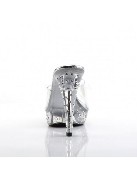 Zueco de empeine transparente con plataforma decorada con strass