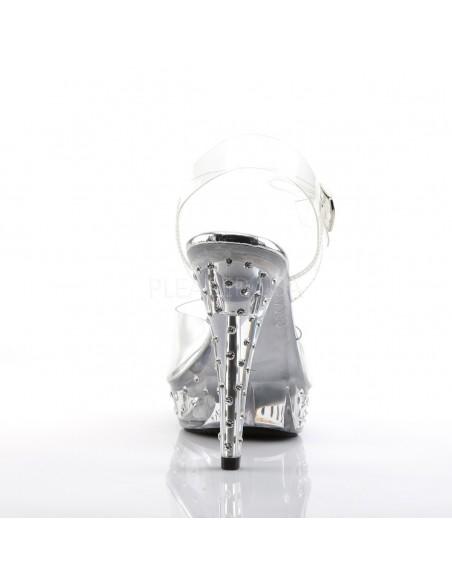 Sandalia de plataforma transparente decorada con strass y correa al tobillo