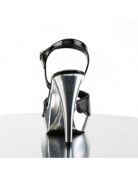Sandalias de plataforma baja cromada con correa al tobillo