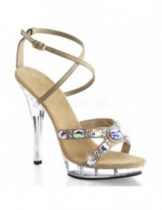 Lujosa sandalia de plataforma transparente y correas cruzadas con pedrería