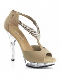Lujosa sandalia de nobuk de plataforma baja con correas cubiertas de joyería de strass