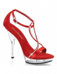 Preciosa sandalia de plataforma baja con correas cruzadas cubiertas de joyas de strass