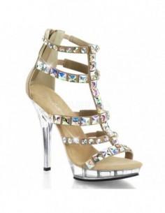 Lujosa sandalia abotinada de nobuk y plataforma baja con correas cubiertas de joyería de strass