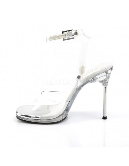 Sandalia Pleaser sin plataforma y tacón de aguja con correa al tobillo