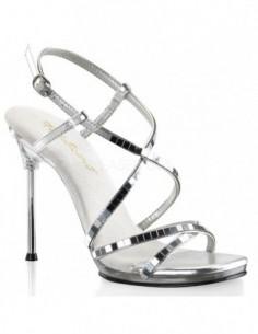 Sandalia Pleaser sin plataforma y tacón de aguja con bandas con espejos