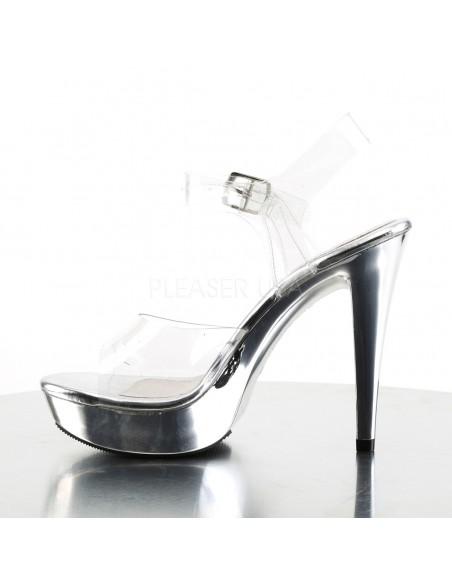 Sandalia de plataforma metalizada con correa al tobillo